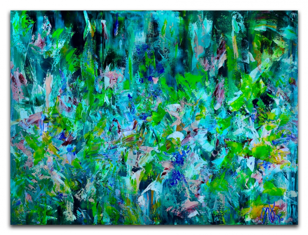 SOLD - After the rainfall - READY TO HANG! (2018) abstract expressionistic Acrylic painting by Nestor Toro