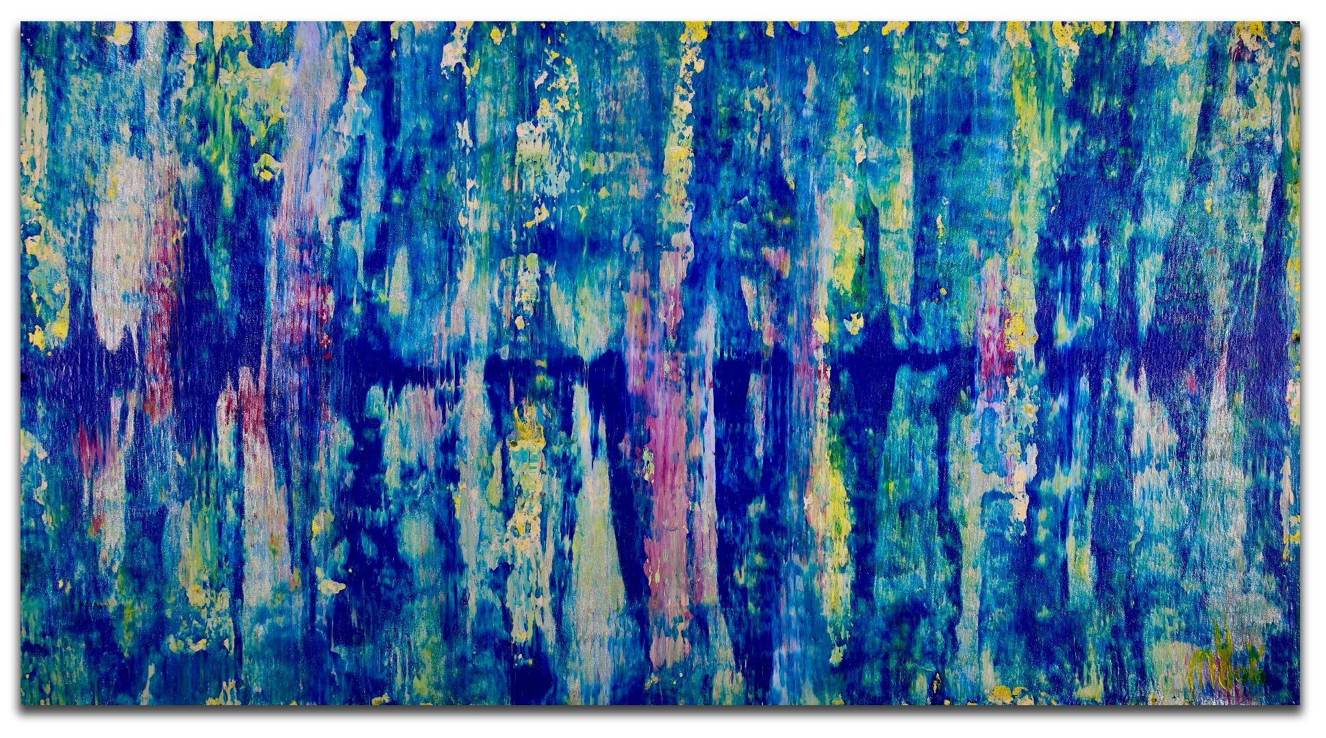 Iridescent aqua spectra by Nestor Toro (2018) Abstract Acrylic painting