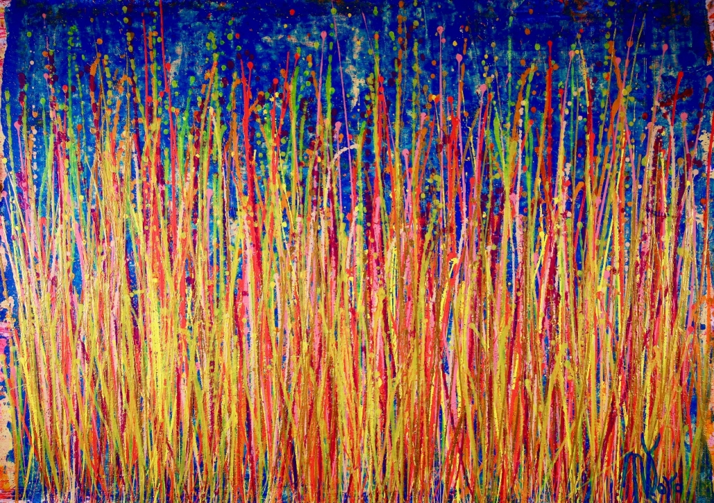 SOLD - Shimmering drizzles 2 (2018) Edit Acrylic painting by Nestor Toro