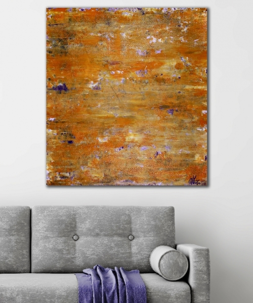 ROOM View / Golden shadows over purple (2018) Abstract Acrylic painting by Nestor Toro