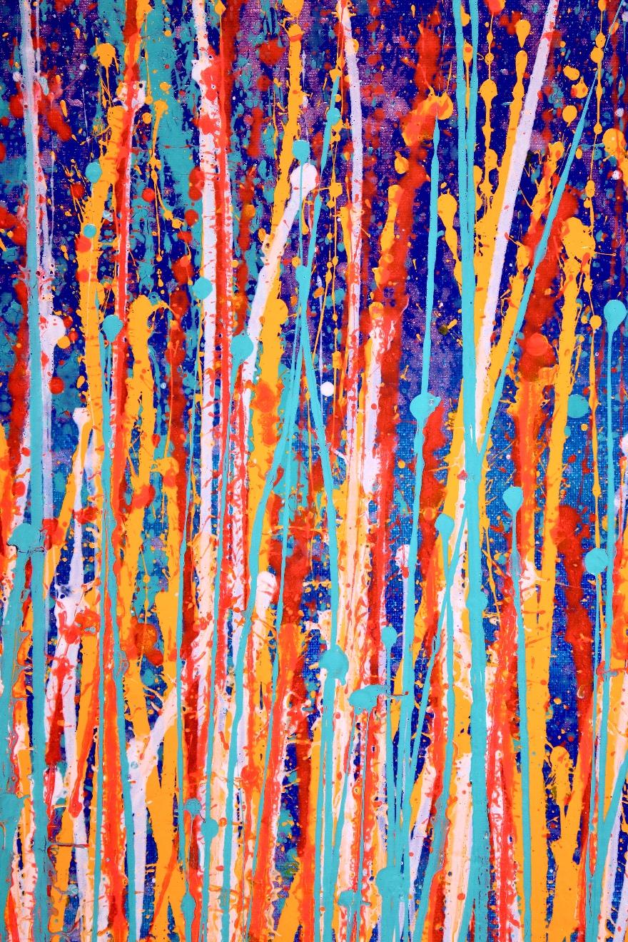 DETAIL - Interrupted Garden (Color Blast) Triptych by Nestor Toro