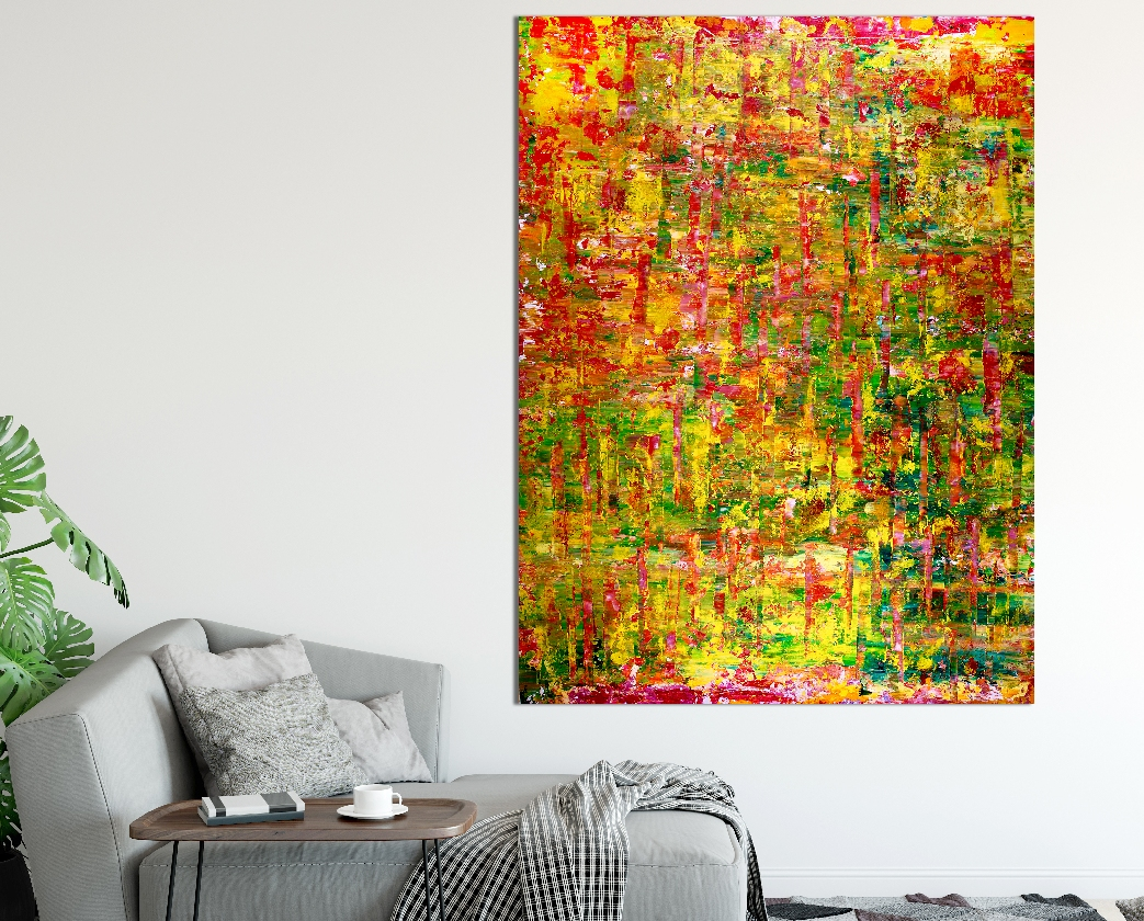 Room View - Caribe forest spectra (2018) Abstract Acrylic painting by Nestor Toro