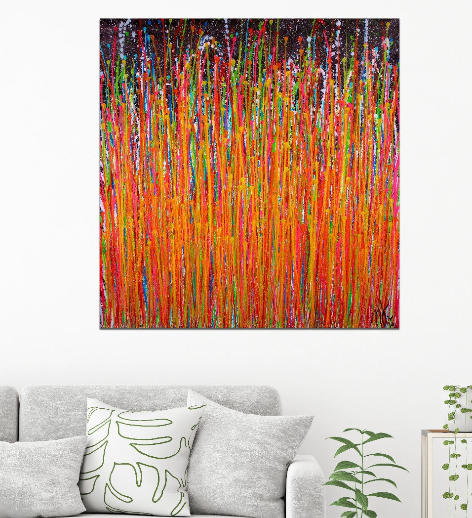 ROOM View- Consciousness Garden 2 - (2019) Abstract Acrylic painting by Nestor Toro