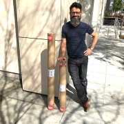 Artist Nestor Toro sending out his sold abstract art to collectors on a sunny spring day in L.A.