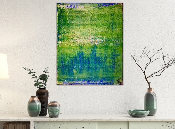 Green valley spectra 1 (2019) Abstract Acrylic painting by Nestor Toro