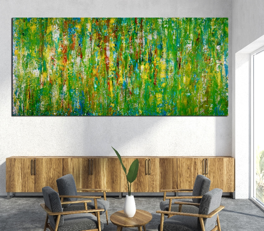 Room View - Consciousness forest spectra by Nestor Toro (2019) 79 x 37 inches